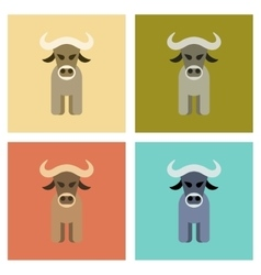 Assembly flat icons nature cartoon bull vector
