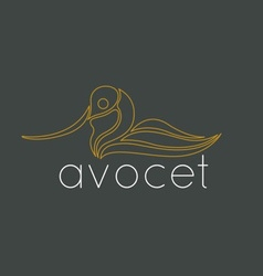 Avocet Bird Logo vector