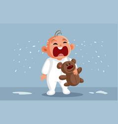Baby holding teddy bear and crying cartoon vector