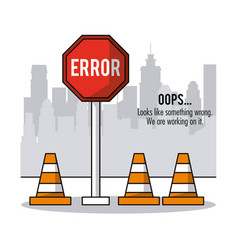 background of city with cones of traffic and road vector image