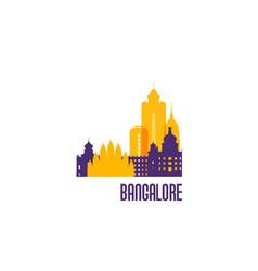 Bangalore city emblem colorful buildings vector