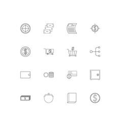 banking finance and money simple linear icons set vector image