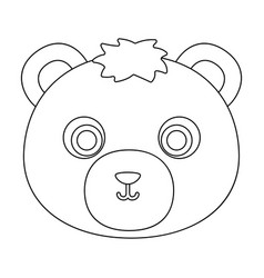Bear muzzle icon in outline style isolated on vector