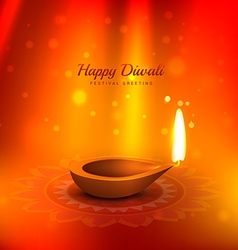 beautiful diwali background with diya and light vector image