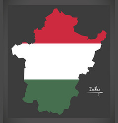 Bekes map of hungary with hungarian national flag vector