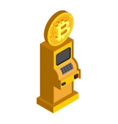 Bitcoin atm crypto currency cash dispenser vector