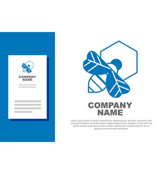 Blue bee and honeycomb icon isolated on white vector