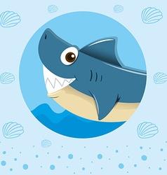 Blue shark with happy face vector