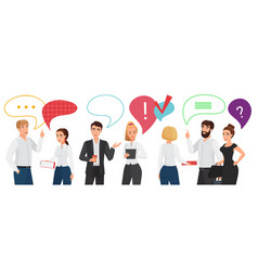 business people standing team communication with vector image