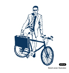 Businessman with his case and bike vector