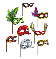 cartoon carnival or venetian face mask set vector image