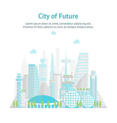 Cartoon future city on a landscape background card vector