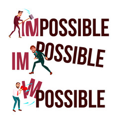 character man break down word impossible vector image