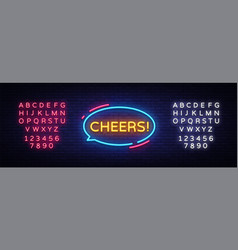 cheers neon text cheers neon sign design vector image
