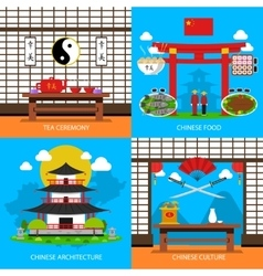 Chinese Concept Icons Set vector