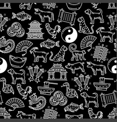 chinese horoscope seamless pattern vector image