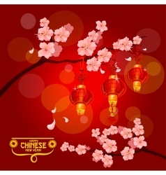 Chinese New Year card with plum blossom lantern vector