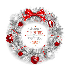 Christmas wreath white vector