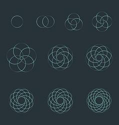 Circle contour various sacred geometry set vector