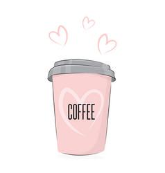 Coffee drink cute food cup of vector