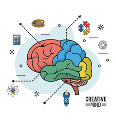 colorful poster of creative mind with different vector image