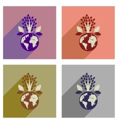 Concept of flat icons with long shadow Earth vector