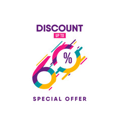 Discount label up to 60 special offer template vector