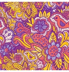 Doodle seamless pattern with flowers and birds vector image