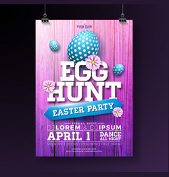 Egg hunt easter party flyer vector