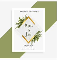 elegant wedding card design with frame of leaves vector image