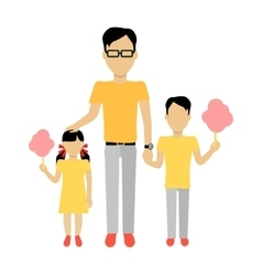 Father with Children Banner Concept vector