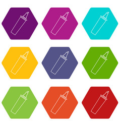 Felt tip pen icons set 9 vector
