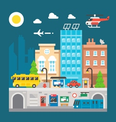 Flat design cityscape underground train station vector