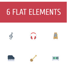 Flat icons banjo earphone octave keyboard and vector