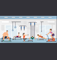 Flat training fitness club vector