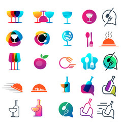 Food chef logo collection design icon element vector