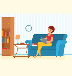Freelancer woman on a sofa with leptop vector