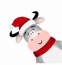 funny bull in santa hat on white background vector image