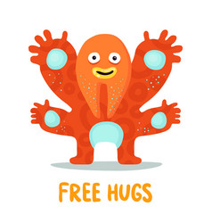 funny hugging monster card vector image