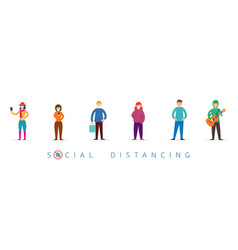 Group people in queue social distancing concept vector