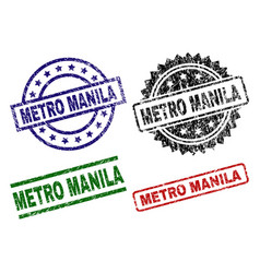 Grunge textured metro manila stamp seals vector