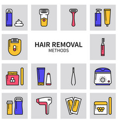 Hair removal methods line icons set shaving vector