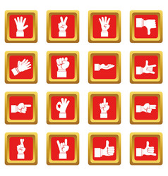 Hand gesture icons set red vector