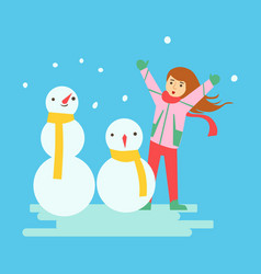 happy girl making snowmen winter activity vector image