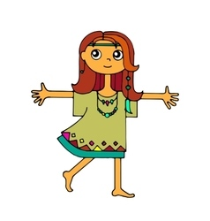 Hippie girl runs and hugs vector