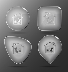 Home watching tv glass buttons vector