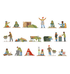 Homeless people characters set unemployment men vector