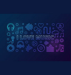 I love music colored horizontal banner or vector