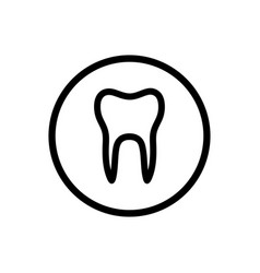 Isolated tooth line icon on a circle vector