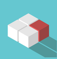 isometric red missing cube vector image